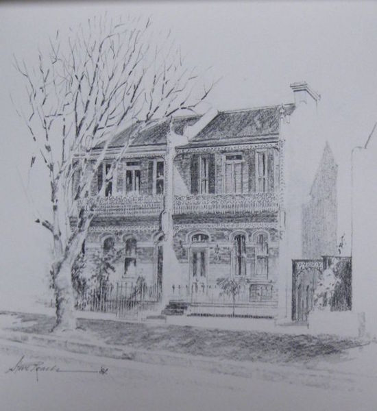 Terrace houses sydney 350 45x40cm original drawing