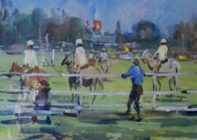 Watching the Events SOLD, 16.5x24cm (image), 35x42cm (frame)