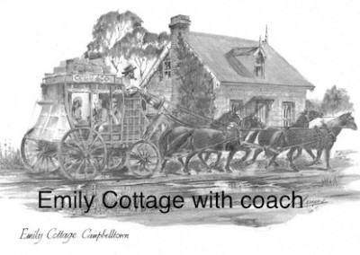 Emily Cottage with coach $15 (A4 print)
