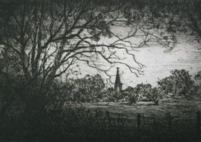 Cobbitty $120 (unframed etching), 25x15cm