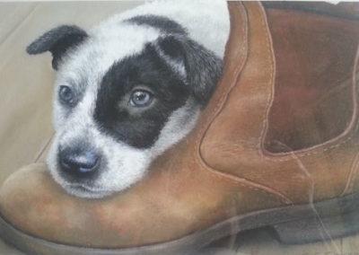Pup 'n' Boot, $475, 36x21cm