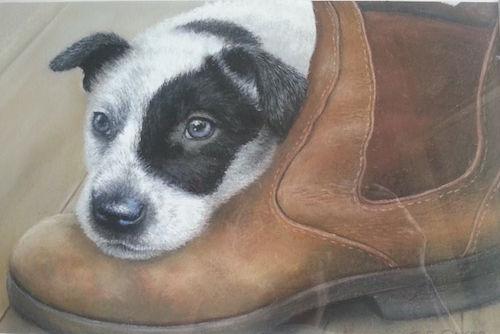 Sue Gasser, Pup 'n' Boot, $475, 36x21cm