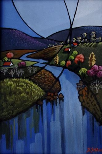 Blue Day Kangaroo Valley, SOLD, 15x23cm (image), 28x36cm (frame)