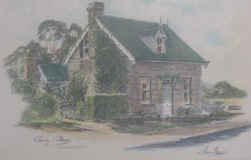 Steve Roach, Emily Cottage (hand-coloured print), $250, 50x33cm (image), 58x40cm (frame)