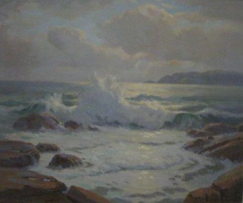 Sir Erik Langker, Sparkling Sea, $1500, 48x60cm (image), 60x72cm (frame)