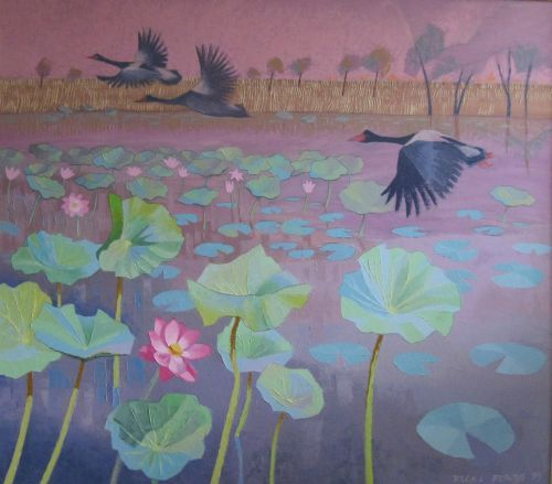 Vicki Powys, Burning Landscape - Red Lily Billabong and Magpie Geese, $1850, 80x90cm (image), 96x107cm (frame)