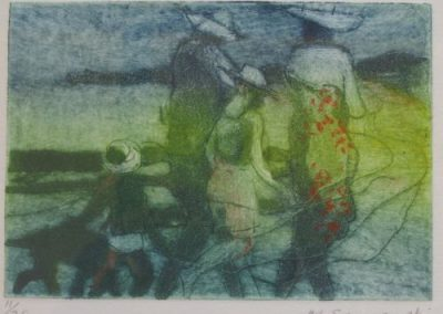 Beach Walk, $320, 7.5x11cm (collagraph, re-sale)