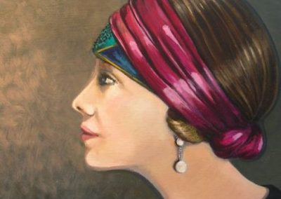 Woman with Turban, SOLD, 25x25cm