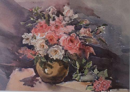 Nola Tegel, Mixed Roses, SOLD, 25.5x35.5cm