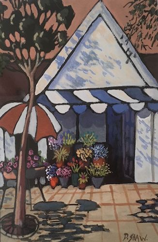 Doreen Shaw, The Flower Shop, SOLD, 15x23cm