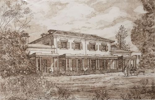 George Sayers, Camden Park House, SOLD, 18.5x27.5cm