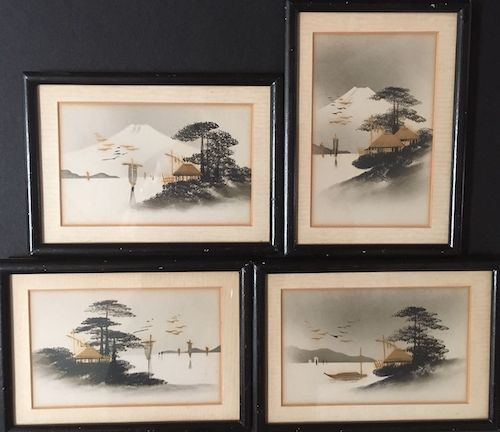 Original antique Japanese post cards c1920s, $60 (set of four)