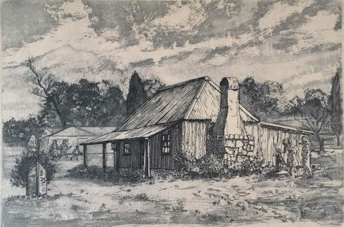 George Sayers, Pye Cottage Gunning, SOLD, 17x25.5cm