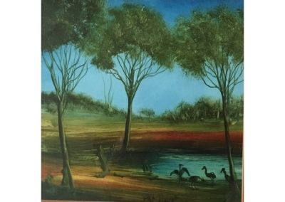 Pro Hart, Watering Hole, $2200, 19x19cm (re-sale)